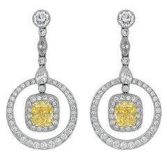 Canary Diamond Platinum Drop Earrings