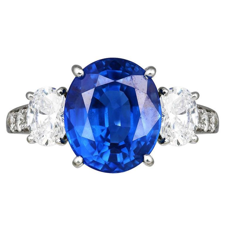 6.20 Carat Sapphire Diamond Platinum 3 Stone Ring