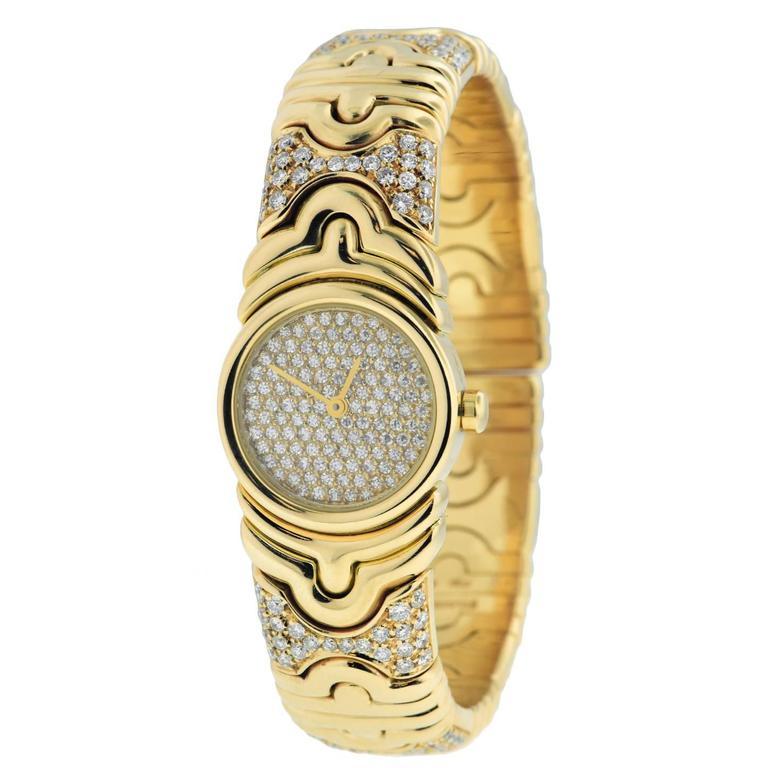 Bulgari Lady's Parentesi Yellow Gold Pave Diamond Quartz Wristwatch Ref BJ0