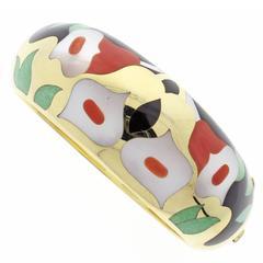 Asch Grossbardt Hardstone Gold Bangle Bracelet
