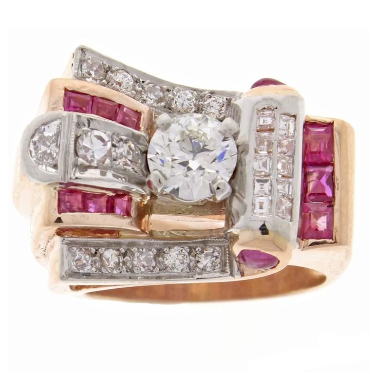 1950s Retro Ruby Diamond Gold Platinum Ring