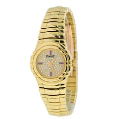 Piaget Lady's Yellow Gold Diamond Ruby Tanagra Quartz Wristwatch