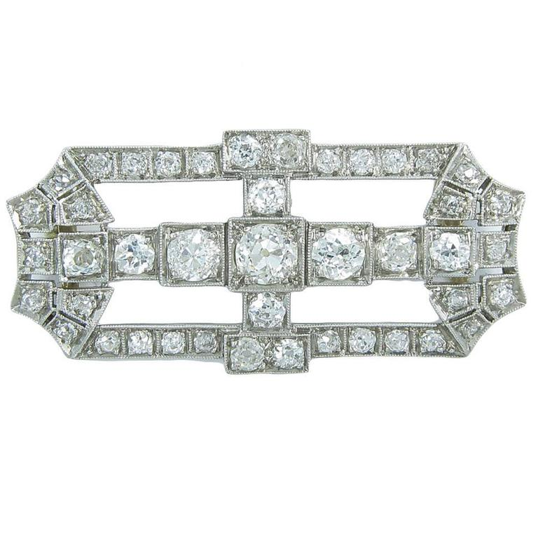 Antique Old Mine Cut Diamond Gold Platinum Slide Pendant