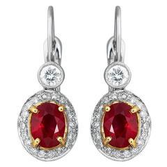 Burma Ruby Diamond Gold Drop Earrings