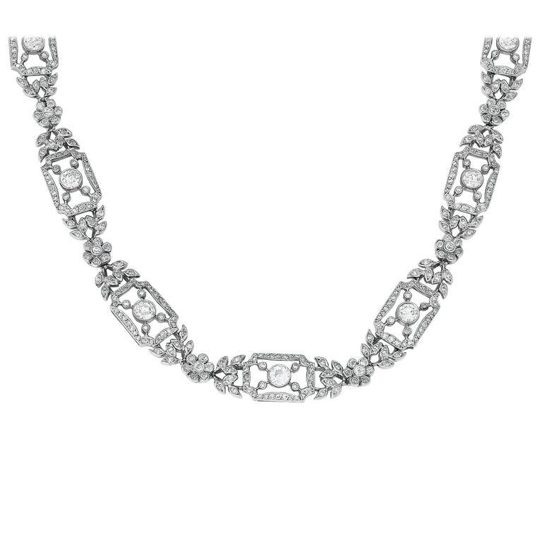 Diamond Platinum Filigree Necklace