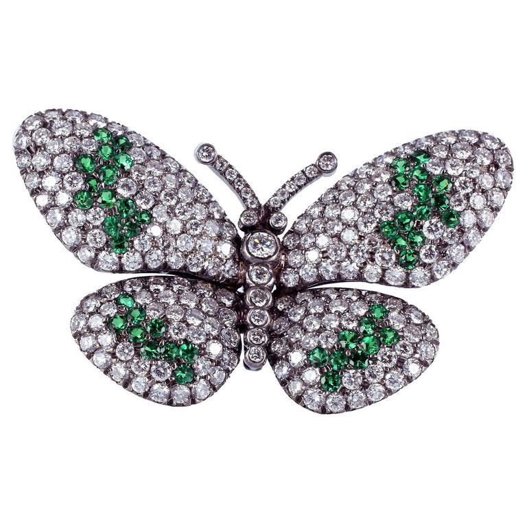 Tsavorite Diamond Rhodium Gold Butterfly Pin
