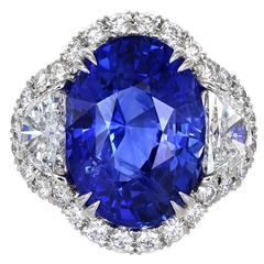 12.38 Carat Ceylon Sapphire Diamond Three Stone Platinum Ring