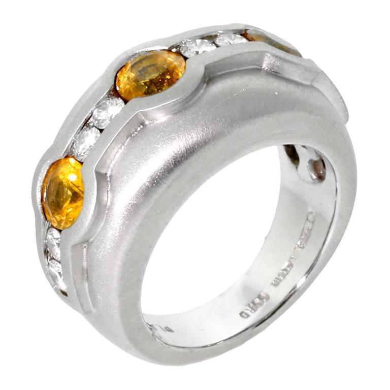 Barry Kieselstein Cord Yellow Sapphire Diamond Platinum Ring