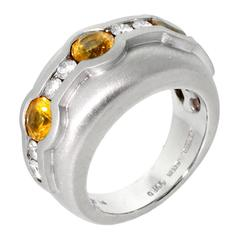 Barry Kieselstein Cord Yellow Sapphire Diamond Platinum Ring
