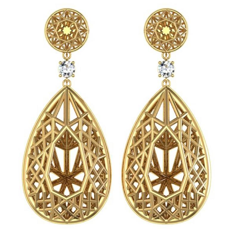 Sayaka Yamamoto & Sparkles Diamond and Gold Earrings 1