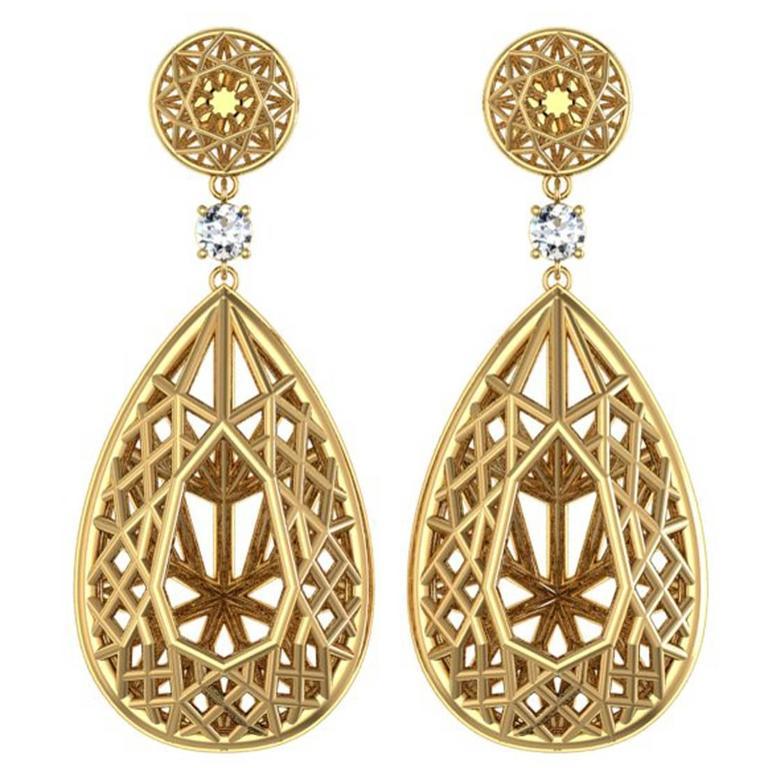 Sayaka Yamamoto & Sparkles Diamond and Gold Earrings For Sale
