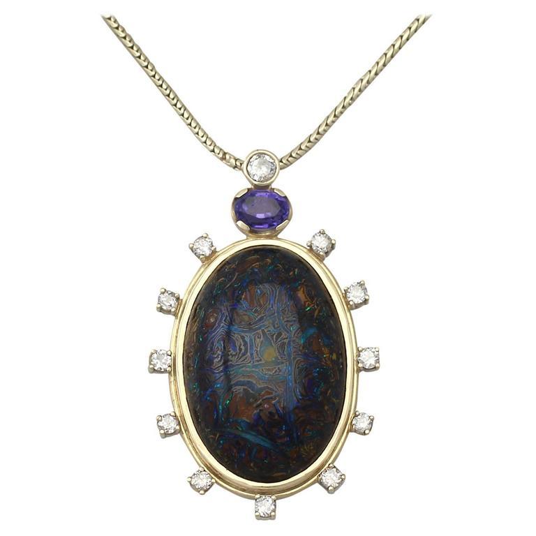Vintage Boulder Opal Sapphire & Diamond Pendant  1
