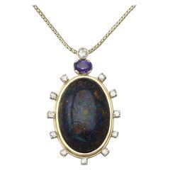 Vintage Boulder Opal Sapphire & Diamond Pendant