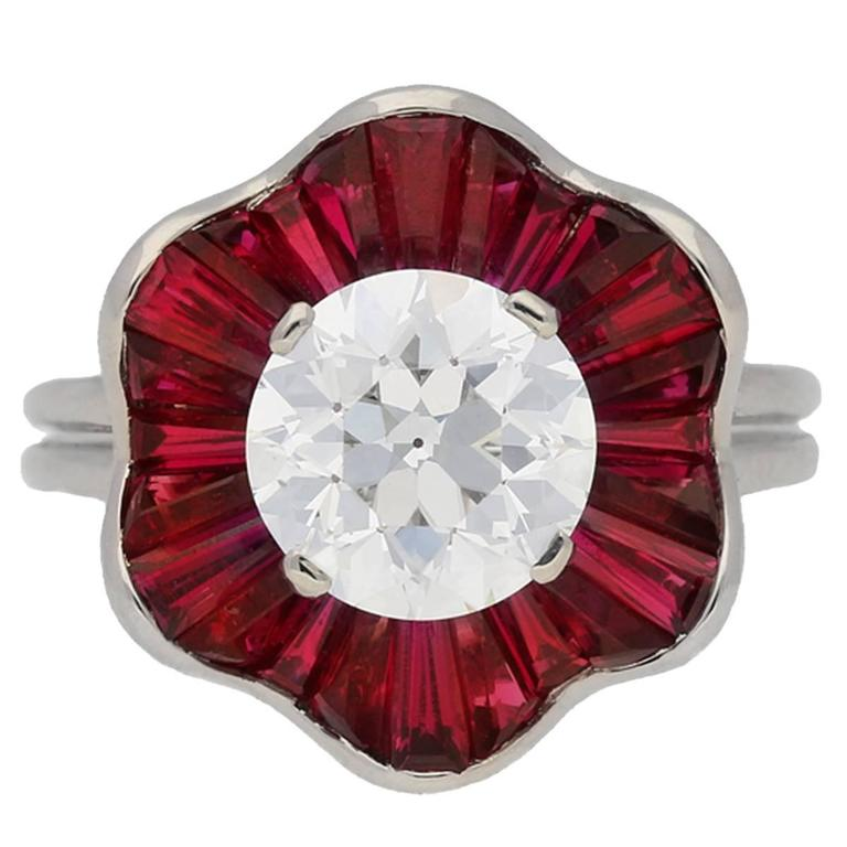 1970s Oscar Heyman Brothers Ruby Diamond Platinum Cluster Ring