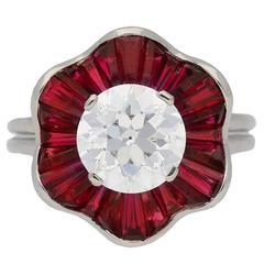 1970s Oscar Heyman Brothers Ruby Diamond Platinum Cluster Ring