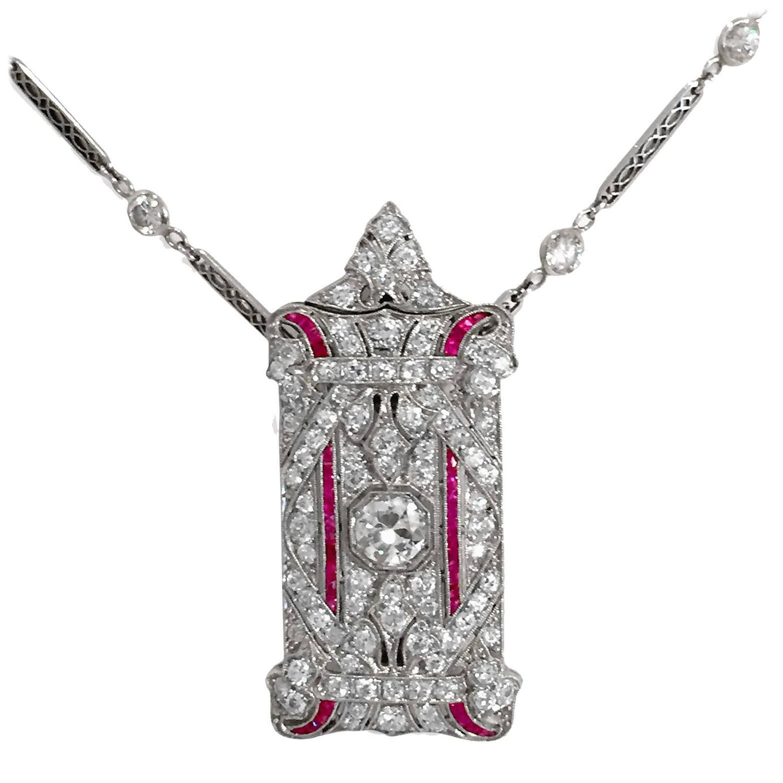 Art Deco Ruby Diamond Platinum Pendant Brooch at 1stdibs