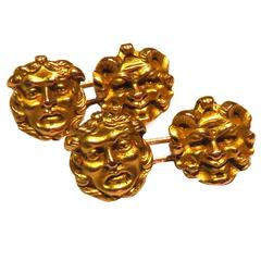 Art Nouveau Fantastic Four Face Double Sided Well Articulated Gold Cufflinks