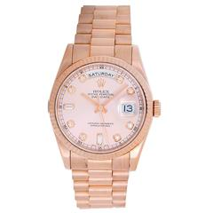 Rolex Rose Gold Diamond Dial President Day-Date Wristwatch Ref 118235