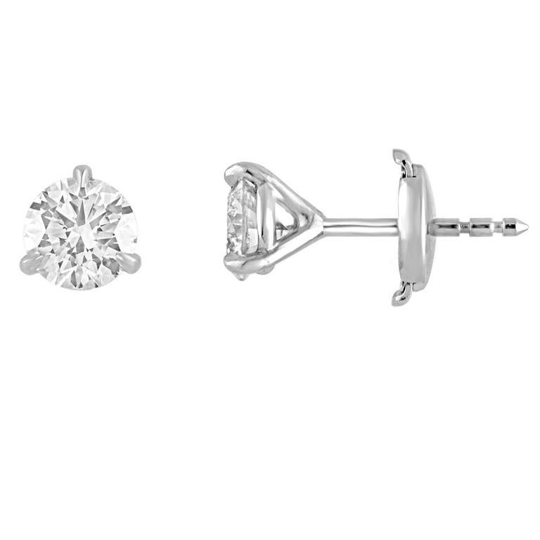 0.66 Carats Diamond Martini Gold Stud Earrings For Sale