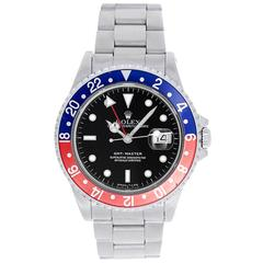 Rolex Stainless Steel GMT-Master Red Blue Pepsi Bezel Automatic Wristwatch