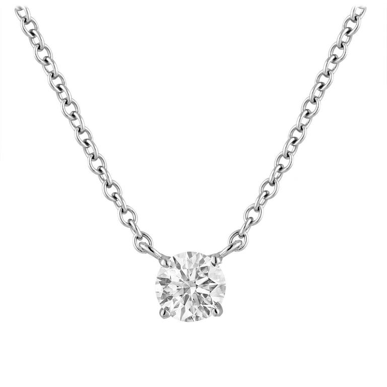 GIA Certified 0.51 Carat Diamond Gold Solitaire Necklace 1