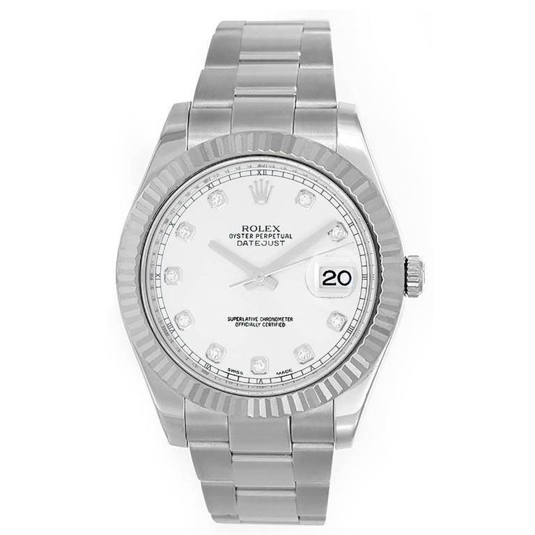 Rolex Stainless Steel Diamond Dial Datejust Automatic Wristwatch Ref 116234