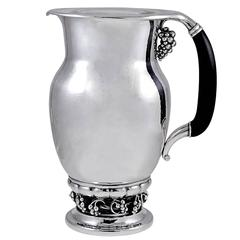 Georg Jensen Silver and Ebony Pitcher No. 407B