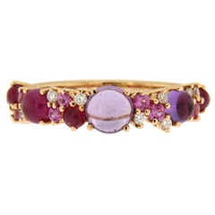 Jona Amethyst Ruby White Diamond Pink Sapphire 18 Karat Rose Gold Band Ring