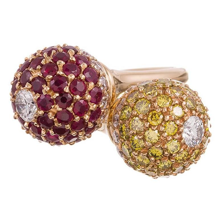 Ruby Diamond Gold Orb Bypass Ring