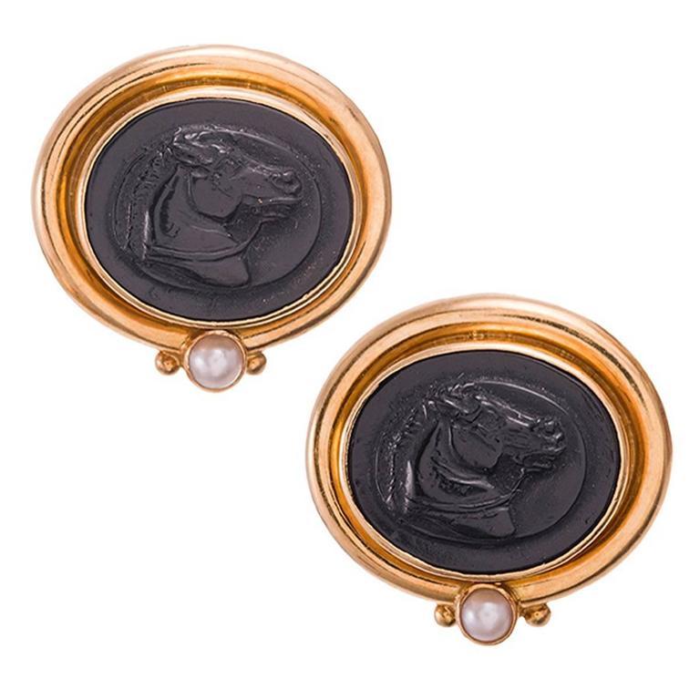 Elizabeth Locke Carved Venetian Glass Gold Horse Portrait Earrings
