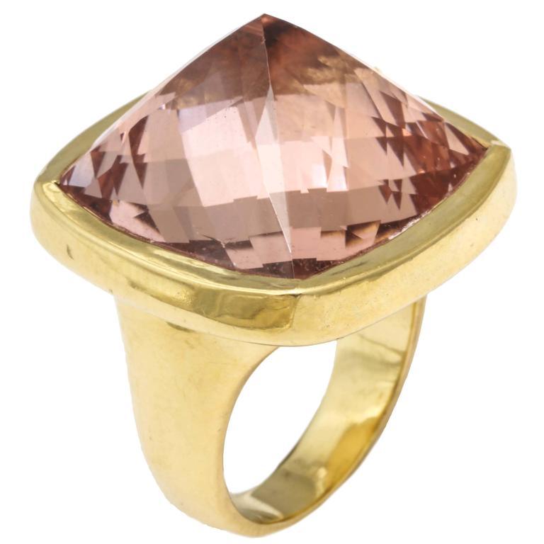Rebecca Koven Morganite Gold Pyramid Ring For Sale