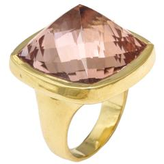 Rebecca Koven Morganite Gold Pyramid Ring