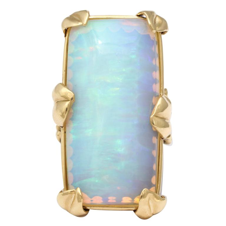 Rebecca Koven 50.46 Carat Opal Gold Nymphaea Ring