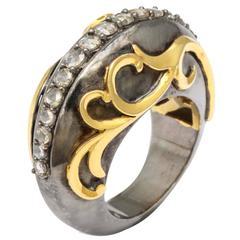 Rebecca Koven Diamond Silver Gold Rhodium Mermaid Wave Ring