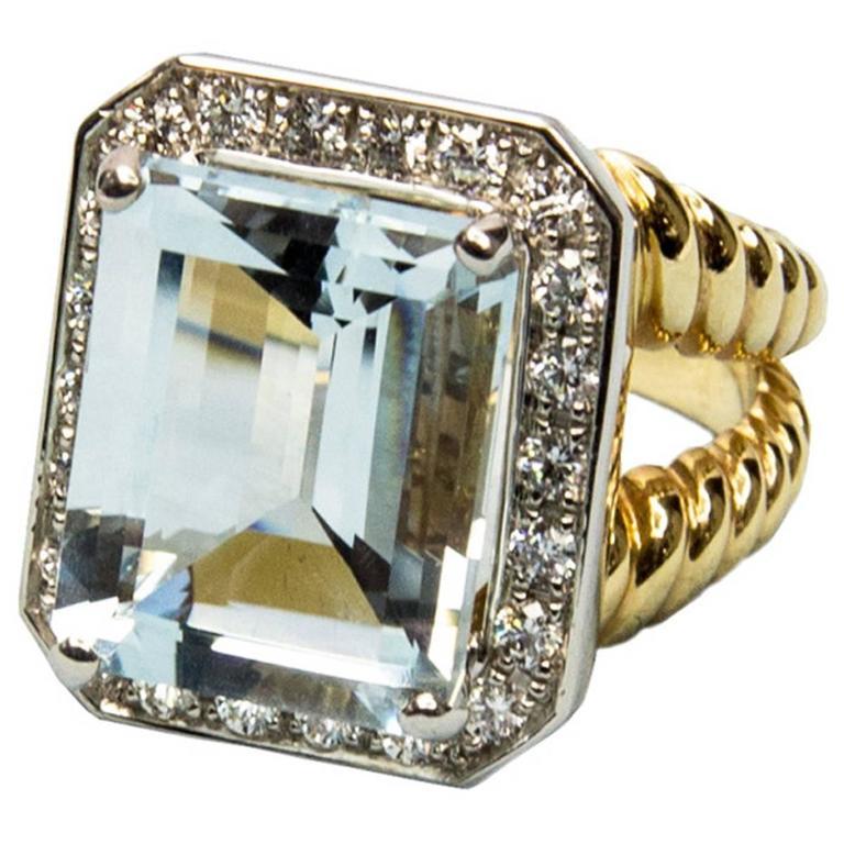 Step-Cut Aquamarine Diamond Gold Ring