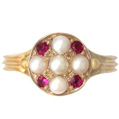1871 Antique Pearl and Ruby Yellow Gold Cocktail Ring