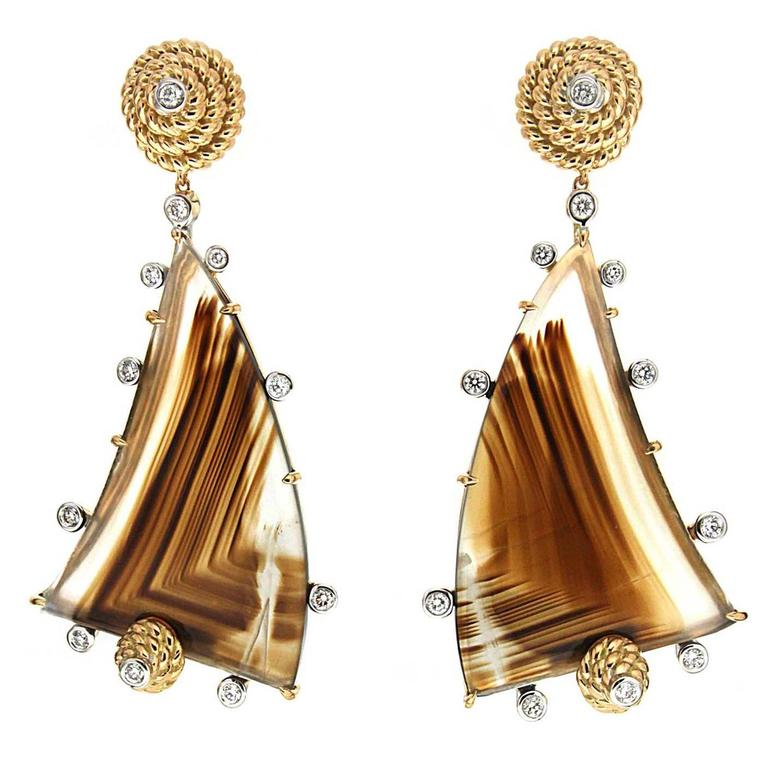 Special Cut Montana Agate Diamond Gold Earrings