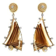 Special Cut Montana Agate Diamond Gold Earrings