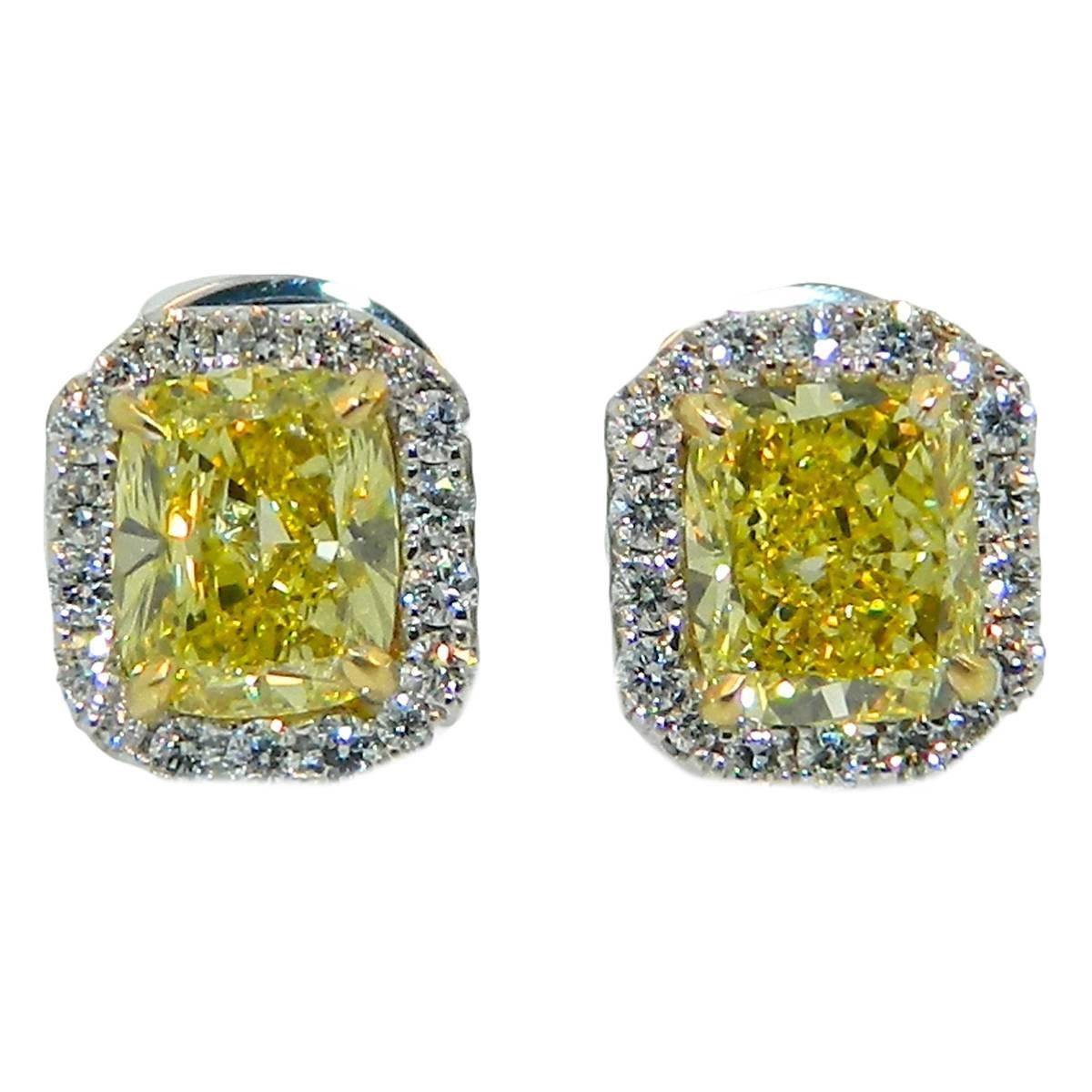 yellow diamond halo earrings - photo #10