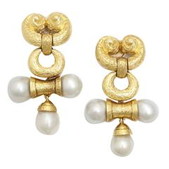 Massive Pearl Gold Drop Earrings