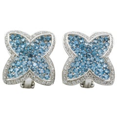 Rodney Rayner Blue Topaz Diamond Gold Star Clip-On Earrings