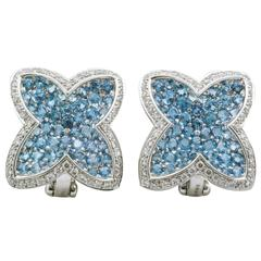 Rodney Raynor Blue Topaz Diamond Gold Star Clip-On Earrings