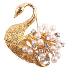 Pearl Ruby Diamond Gold Swan Brooch