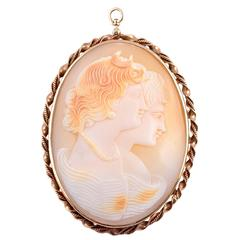Mid-Century Gold Carved Cameo