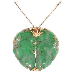 Mid Century Jade Pin Pendant with Gold Chain