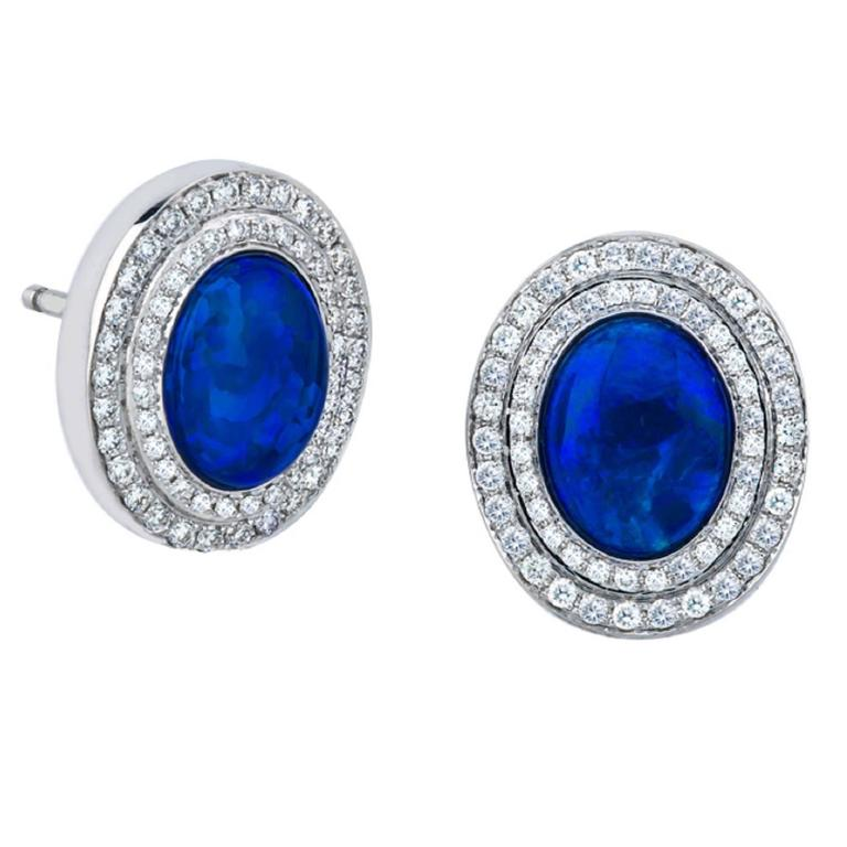 Blue Opals and Diamond Stud Earrings in Classic 18K Gold Setting