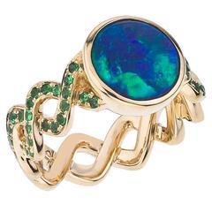 Modern Opal and Tsavorite Garnet Twisting Band Ring