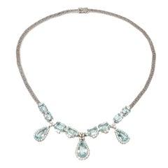 Aquamarine Diamonds Gold Necklace