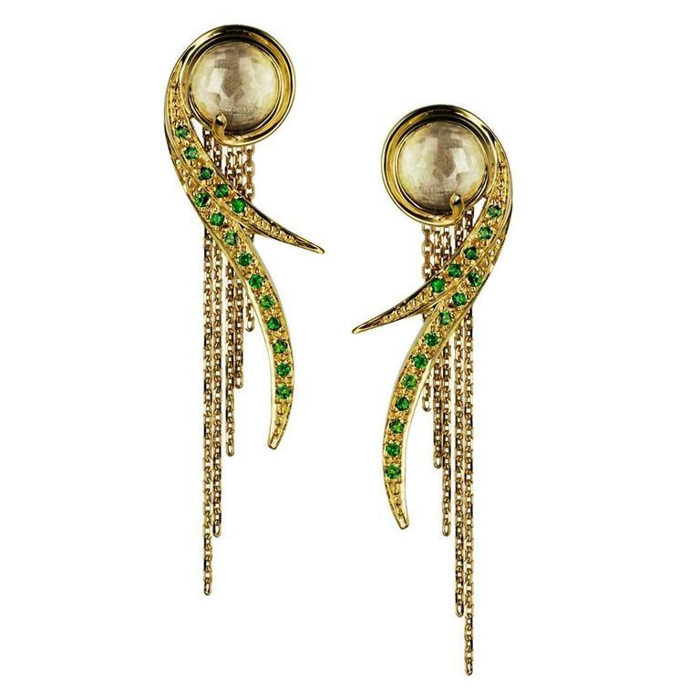 Ana De Costa Yellow Gold Round Green Tsavorite Rock Crystal Drop Chain Earrings For Sale