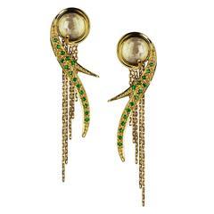 Ana De Costa Gold Tsavorite Rock Crystal Earrings